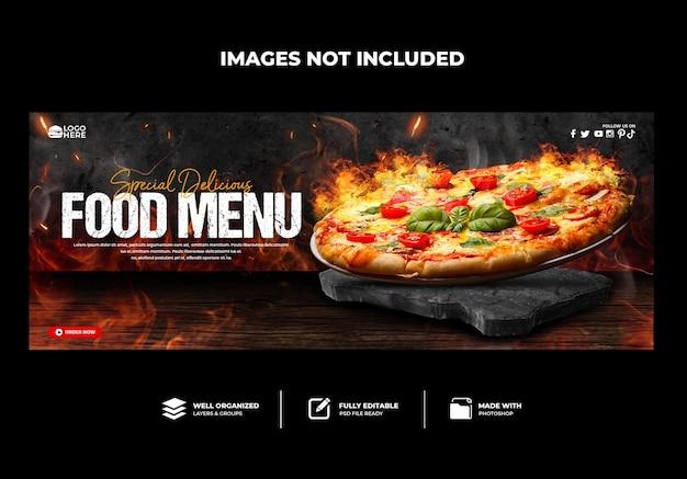 Portada de facebook menú del restaurante pizza deliciosa