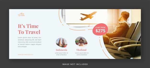 Portada de facebook de viajes y plantilla de diseño de banner web