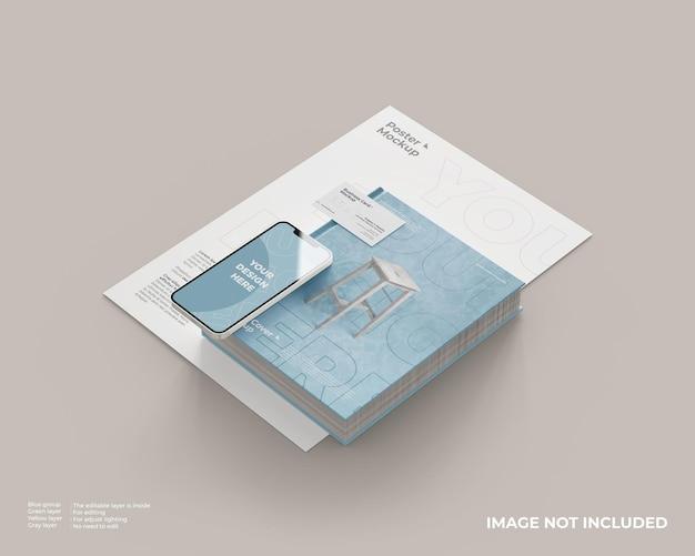Portada del libro con póster, tarjeta de visita y maqueta de teléfono inteligente
