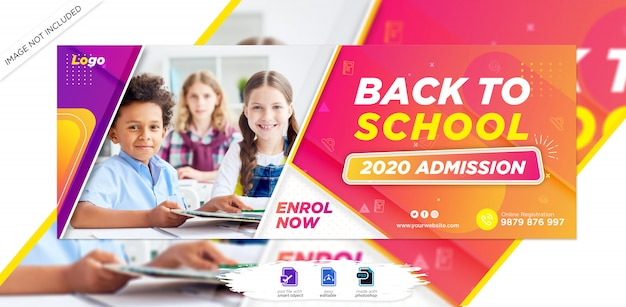 Portada de la línea de tiempo de facebook de admisión a la escuela para niños