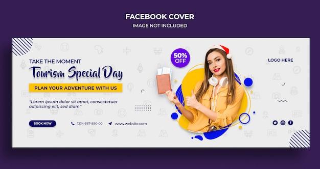 Portada de la línea de tiempo de facebook del día especial de turismo o plantilla de encabezado y banner web