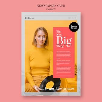 Portada de moda periodística con mujer y disco de vinilo