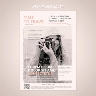 Portada de periódico con fotógrafo de viajes