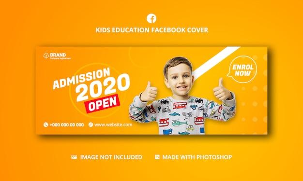 Portada de las redes sociales de admisión escolar para niños, plantilla de portada de facebook