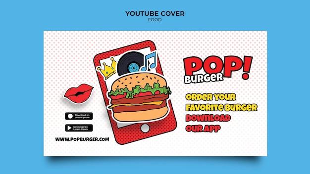 Portada de youtube de comida pop art