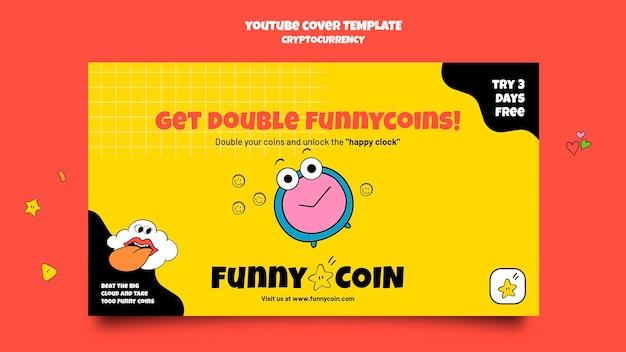 Portada de youtube de criptomoneda de moneda divertida