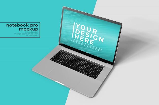 Portátil de 15 pulgadas premium pro de alta calidad para maquetas web, de interfaz de usuario y aplicaciones en vista frontal derecha