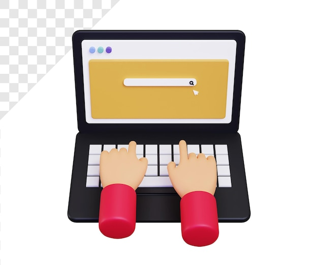 Portátil 3d con barra de búsqueda escribiendo a mano ilustración