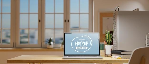 Portátil de renderizado 3d con pantalla de maqueta
