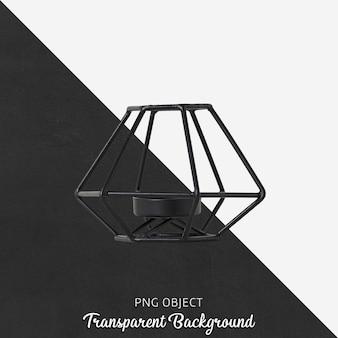 Portavelas negro sobre transparente