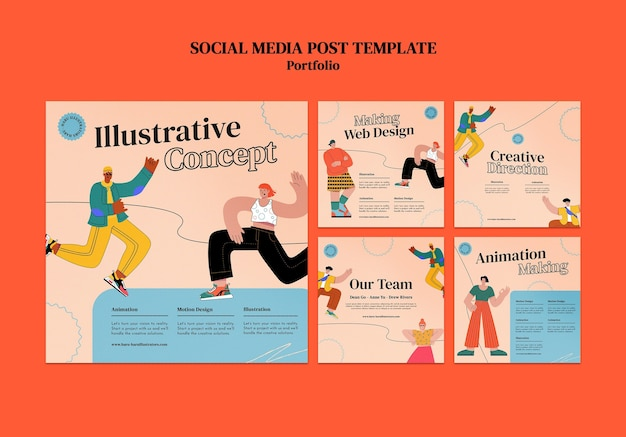 Portoflio insta social media post ontwerpsjabloon Gratis Psd