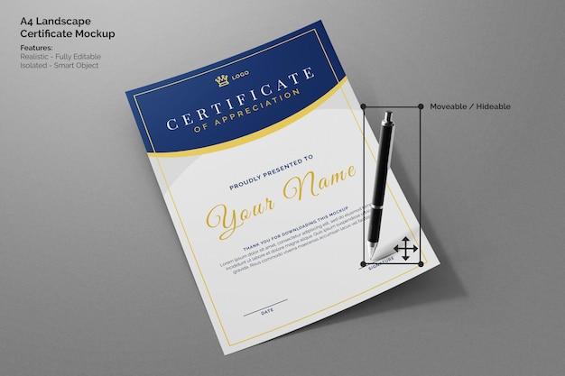 Portret a4-papier vliegend modern zakelijk certificaatdocumentmodel met handtekeningpen