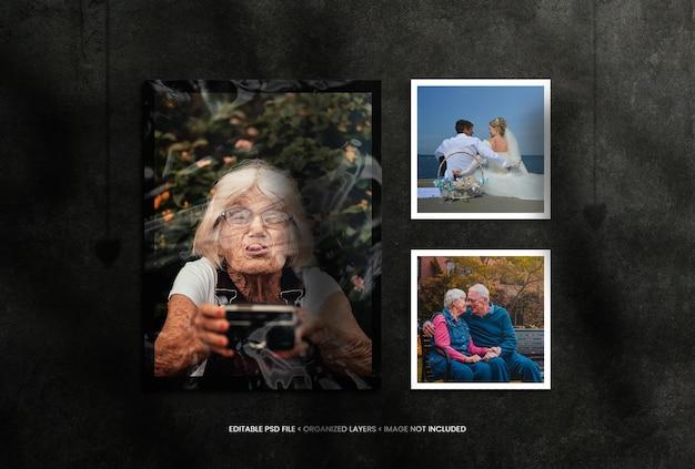 Portret en vierkante fotolijst met schaduwoverlay van plasticfolie