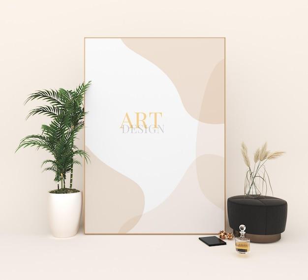 Portret fotolijsten mockup art design in de buurt van potplant