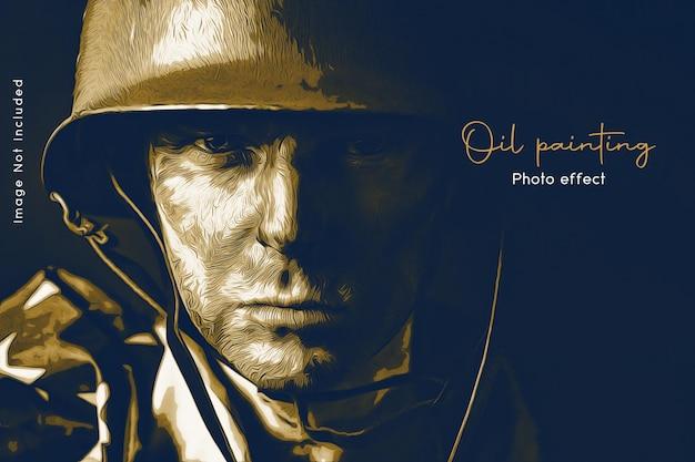 Portret olieverf foto sjabloon