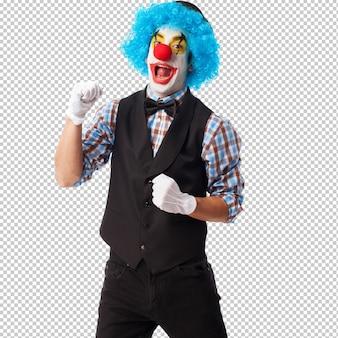 Portret van een clown die over witte achtergrond glimlacht