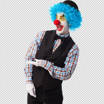 Portret van een grappige clown over wit