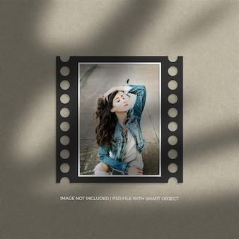 Portretfilm papieren frame mockup en schaduwoverlay