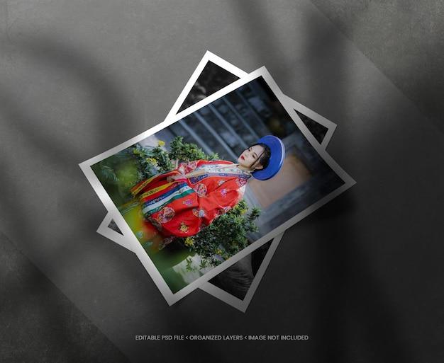 Portretfotolijsten met realistische schaduwoverlay Premium Psd
