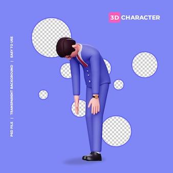 Pose exhausta del personaje masculino 3d con fondo transparente