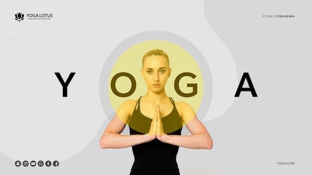 Pose de yoga mínima con mujer