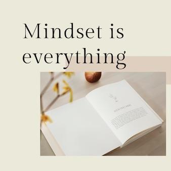 Positieve mindset-sjabloon psd-citaat voor social media post-mindset is alles