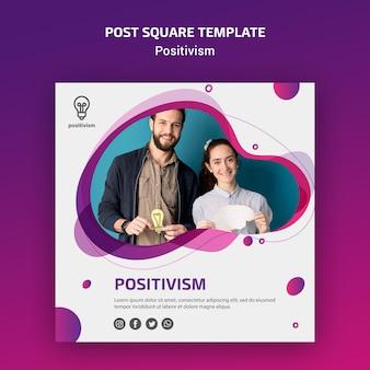 Positivisme concept post vierkante sjabloon