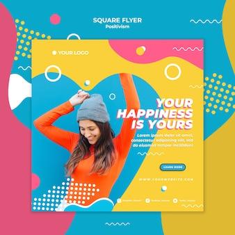 Positivisme concept vierkante flyer stijl