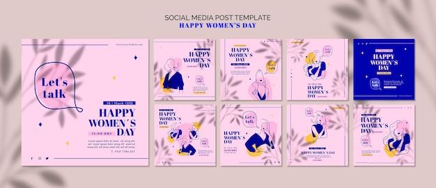 Post dei social media di giorno della donna felice