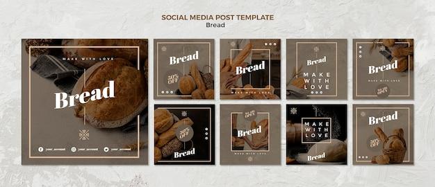 Post di social media aziendali sul pane