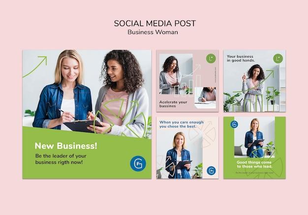 Post di social media con donna d'affari