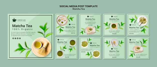Post di social media con il concetto di tè matcha