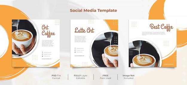 Post di social media di latte art brush style della caffetteria