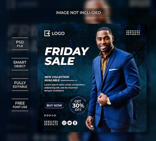 Post di social media di vendita banner modello venerdì