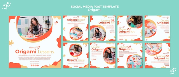 Post di social media origami