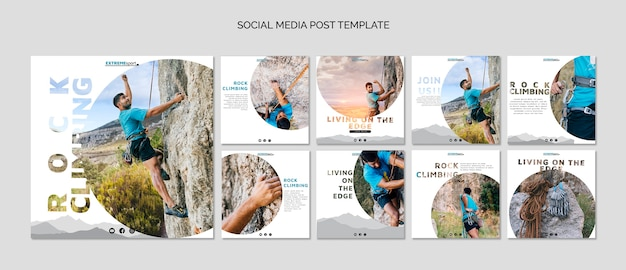 Post di social media per arrampicata su roccia