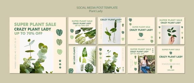 Post di social media plant lady