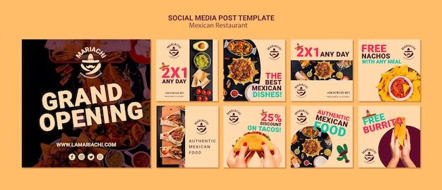 Post di social media ristorante messicano piatti tradizionali