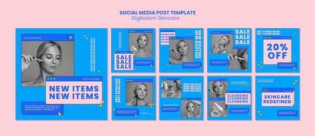 Post di social media skincare sui social media