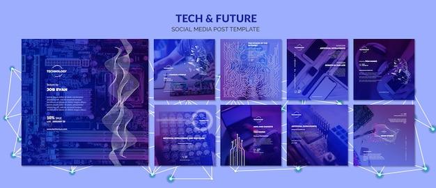 Post di social media su tecnologia e futuro