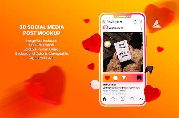 Post e storie sui social media di instagram in mockup in stile 3d