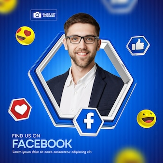 Post flyer facebook frame sociale media 3d render emoji