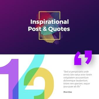 Post ispirato sui social media. banner quadrato colorato perfetto per post instagram.