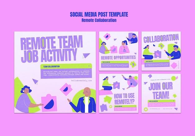 Post op sociale media voor samenwerking op afstand Gratis Psd