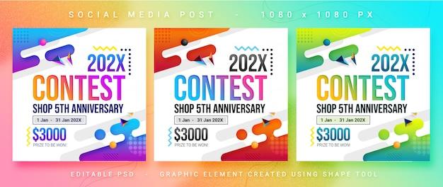 Post per contest di social media multiuso