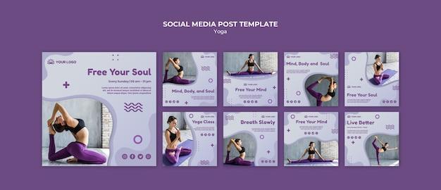 Post de redes sociales de concepto de yoga