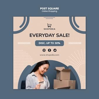 Post sjabloon met online winkelen concept