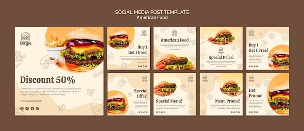 Post-sjabloon voor amerikaans eten sociale media