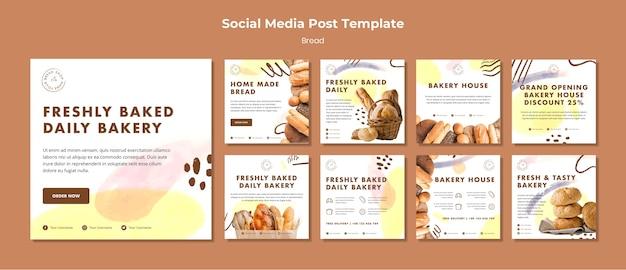 Post-sjabloon voor sociale media vers gebakken dagelijkse bakkerij