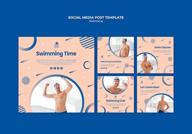 Post-sjabloon voor sociale media zwemmen